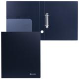 Папка на 2 кольцах BRAUBERG (БРАУБЕРГ) «Стандарт», 40 мм, черная, до 250 листов, 0,9 мм