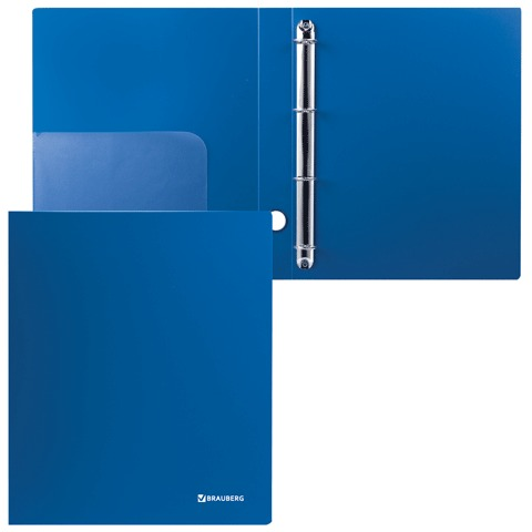 Папка на 4 кольцах BRAUBERG (БРАУБЕРГ) «Стандарт», 40 мм, синяя, до 250 листов, 0,9 мм