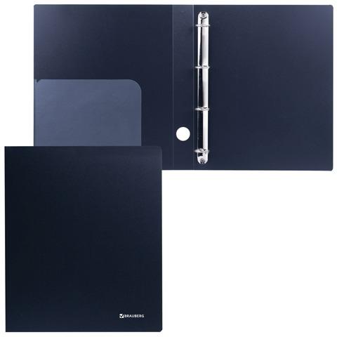 Папка на 4 кольцах BRAUBERG (БРАУБЕРГ) «Стандарт», 40 мм, черная, до 250 листов, 0,9 мм