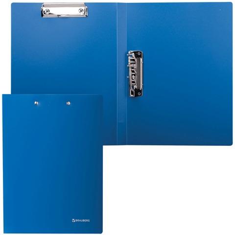 Папка с 2-мя металлическими прижимами BRAUBERG (БРАУБЕРГ) стандарт, синяя, до 100 листов, 0,6 мм