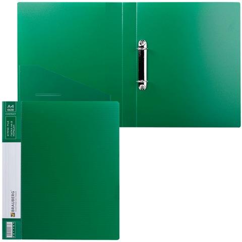 Папка на 2 кольцах BRAUBERG «Contract» (БРАУБЕРГ «Контракт»), 35 мм, зеленая, до 180 листов, 0,9 мм