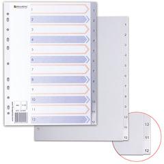 Разделитель пластиковый BRAUBERG для папок А4, цифровой 1-12, с оглавлением, серый, Китай