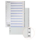 Разделитель пластиковый BRAUBERG (БРАУБЕРГ) для папок А4, цифровой 1-20, с оглавлением, серый, Китай