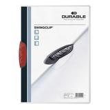 Папка c клипом DURABLE (Германия), до 30 листов, «Swingclip», полупрозрачная, белая, красный клип