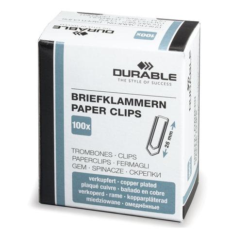Скрепки DURABLE (Германия), 26 мм, омедненные, 100 шт., в картонной коробке