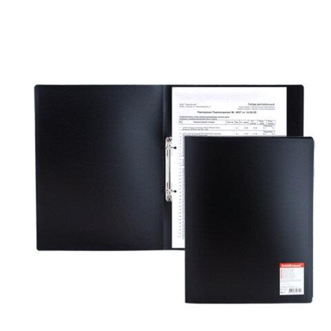 """Папка на 2 кольцах ERICH KRAUSE """"Standard"""", 24 мм, черная, 0,5 мм"""