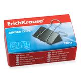 Зажимы для бумаг ERICH KRAUSE, комплект 12 шт., 19 мм, на 60 листов, черные, в картонной коробке