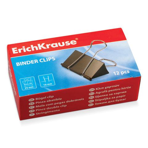 Зажимы для бумаг ERICH KRAUSE, комплект 12 шт., 25 мм, на 100 листов, черные, в картонной коробке