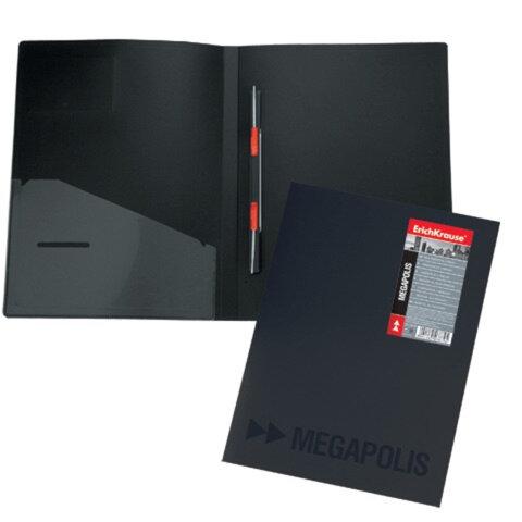 Папка с металлическим скоросшивателем и внутренним карманом ERICH KRAUSE «Megapolis», черная, до 100 листов, 0,6 мм
