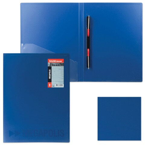 Папка с металлическим скоросшивателем и внутренним карманом ERICH KRAUSE «Megapolis», синяя, до 100 листов, 0,6 мм