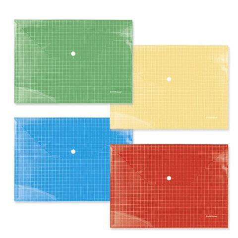 Папка-конверт с кнопкой, прозрачная, ERICH KRAUSE «Envelope Folder», А4, цвет ассорти, 0,14 мм