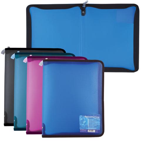 Папка на молнии пластиковая ERICH KRAUSE «Vivid Colors», А4, 300×215 мм, ассорти, 0,5 мм