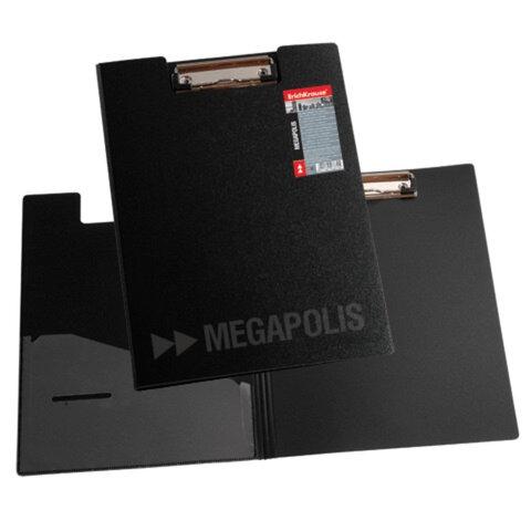 Папка-планшет ERICH KRAUSE «Megapolis», А4, с верхним прижимом и крышкой, черный пластик, 1,3 мм
