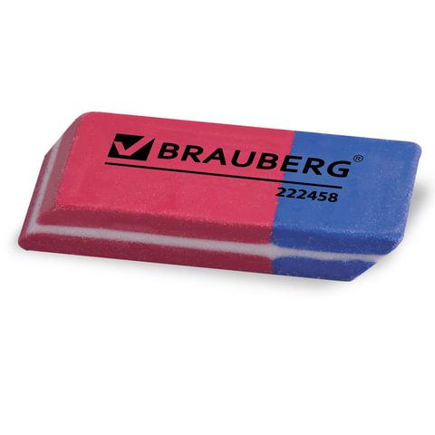 """Резинки стирательные BRAUBERG """"Assistant 80"""", набор 4 шт., 41х14х8 мм, красно-синие, упаковка с подвесом"""
