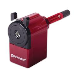 Точилка механическая BRAUBERG, металлический механизм, черный/<wbr/>бордовый