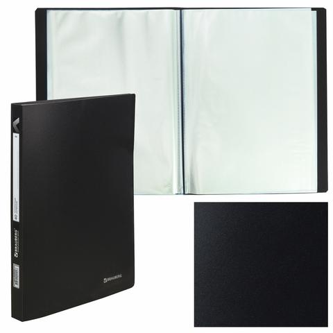 "Папка 40 вкладышей BRAUBERG ""Office"", черная, 0,6 мм"