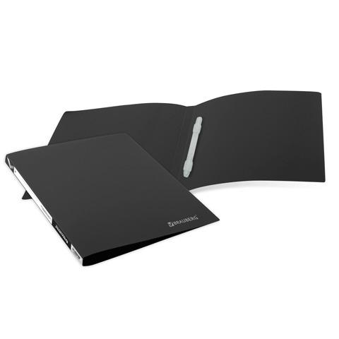 Папка с пластиковым скоросшивателем BRAUBERG (БРАУБЕРГ) бюджет, черная, до 100 листов, 0,5 мм
