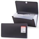 Папка на липучке ERICH KRAUSE «Standard Check», 220×140 мм, 12 отделений, пластиковые индексные ярлычки, черная, 0,4 мм