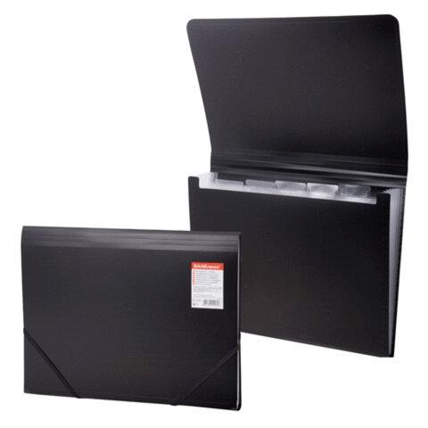 Папка на резинках ERICH KRAUSE «Standard», А4, 6 отделений, пластиковые индексные ярлычки, черная, 0,5 мм