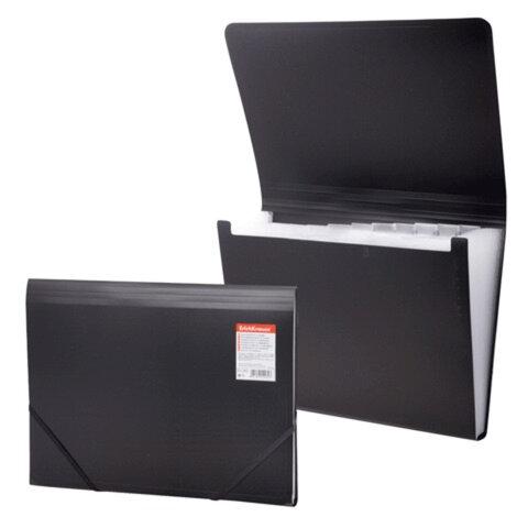 Папка на резинках ERICH KRAUSE «Standard», А4, 13 отделений, пластиковые индексные ярлычки, черная, 0,5 мм
