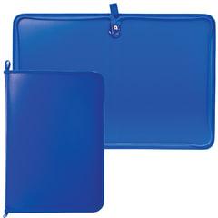 Папка на молнии пластиковая, А4, матовая, синяя, размер 320×230 мм