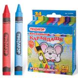 Восковые карандаши утолщенные ПИФАГОР, 24 цвета