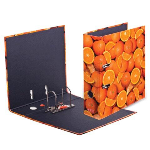 """Папка-регистратор HERLITZ """"Апельсины"""", ламинированный картон, 80 мм"""