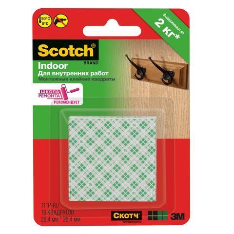 Клейкие ленты двухсторонние 25 мм х 25 мм, SCOTCH, комплект 16 шт., квадраты (3М, США)