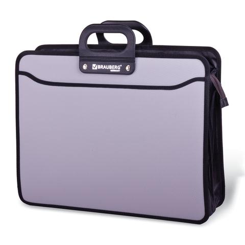 Портфель пластиковый BRAUBERG (БРАУБЕРГ) портфолио, А3, 470×380×130 мм, 3 отделения, на молнии, серый