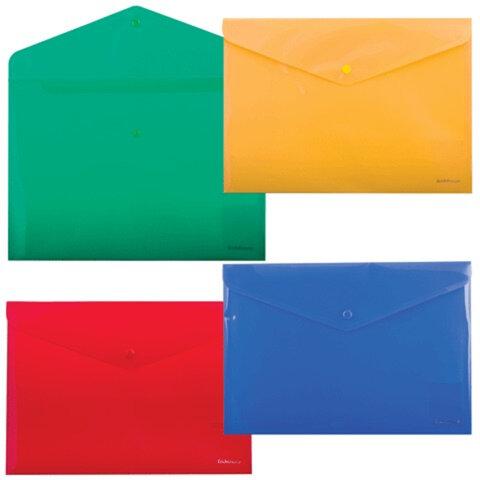 Папка-конверт с кнопкой, непрозрачная, ERICH KRAUSE «Envelope Folder», A4, диагональ, 4 цвета ассорти, 0,18 мм