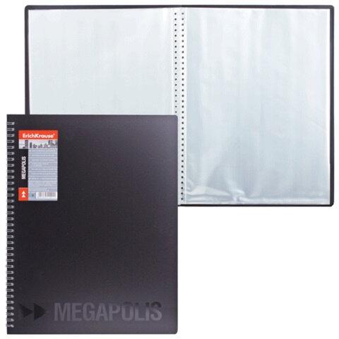 Папка 40 вкладышей ERICH KRAUSE «Megapolis», на спирали, черная, 0,6 мм