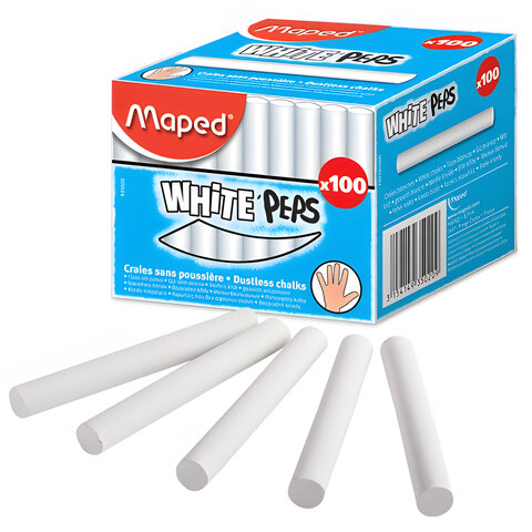 Мел белый MAPED (Франция) АНТИПЫЛЬ, набор 100 шт., круглый