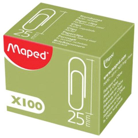Скрепки MAPED (Франция), 25 мм, металлические, с отгибом, 100 штук, в картонной коробке