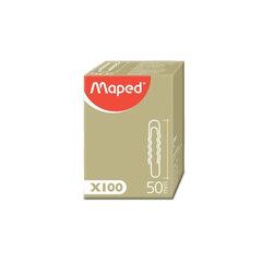 Скрепки MAPED (Франция), 50 мм, металлические, гофрированные, 100 штук, в картонной коробке