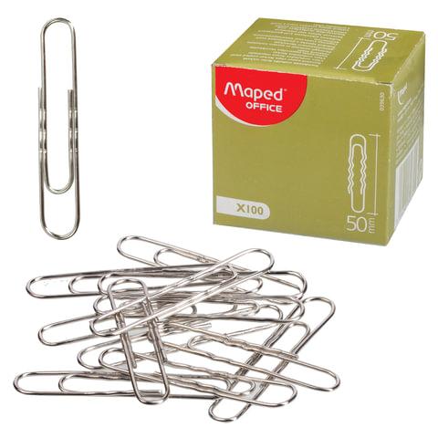 Скрепки MAPED (Франция), 50 мм, металлические, гофрированные, 100 шт., в картонной коробке