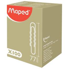 Скрепки MAPED (Франция), 77 мм, металлические, гофрированные, 100 штук, в картонной коробке
