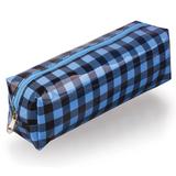 Пенал-косметичка BRAUBERG, пвх, голубой-черный, клетка, 20×6×5 см