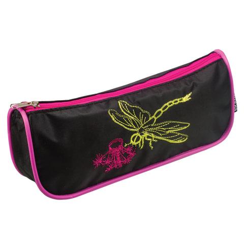 Пенал-косметичка BRAUBERG (БРАУБЕРГ), полиэстер, черно-розовый, «Стрекоза», вышивка, 21×4×8 см