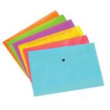 Папка-конверт с кнопкой, прозрачная, ERICH KRAUSE «NEON» («Неон»), А4, 6 цветов ассорти, 0,14 мм