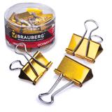 Зажимы для бумаг BRAUBERG (БРАУБЕРГ), комплект 24 шт., 32 мм, на 140 л., цвет «золото», в пластиковом цилиндре