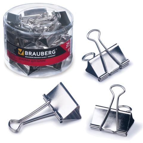 Зажимы для бумаг BRAUBERG (БРАУБЕРГ), комплект 24 шт., 41 мм, на 200 л., цвет «серебро», в пластиковом цилиндре