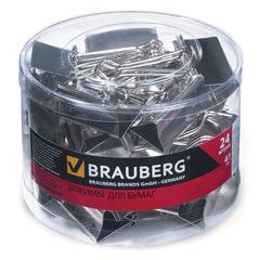 Зажимы для бумаг BRAUBERG, комплект 24 шт., 41 мм, на 200 л., цвет «серебро», в пластиковом цилиндре