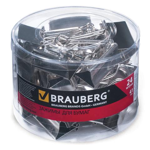 """Зажимы для бумаг BRAUBERG, комплект 24 шт., 41 мм, на 200 л., цвет """"серебро"""", в пластиковом цилиндре"""