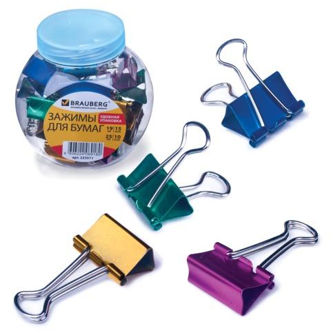 Зажимы для бумаг BRAUBERG (БРАУБЕРГ), комплект 19 мм/<wbr/>15 шт., 25 мм/<wbr/>10 шт., цвет металлик, в пластиковой банке