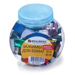 Зажимы для бумаг BRAUBERG, комплект 19 мм/<wbr/>15 шт., 25 мм/<wbr/>10 шт., цвет металлик, в пластиковой банке