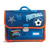 Ранец жесткокаркасный классический BRAUBERG (БРАУБЕРГ) для учеников начальной школы, 14 л, сине-оранжевый, «Футбол», 38×30×12 см