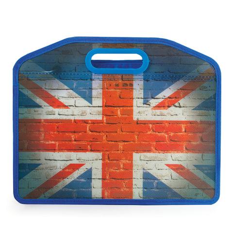 Сумка пластиковая BRAUBERG, A4 37х30 см, на молнии, цветная печать, универсальная, флаг