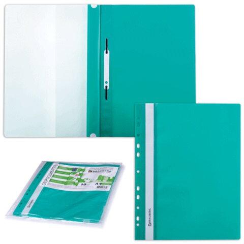 Скоросшиватели пластиковые с перфорацией BRAUBERG (БРАУБЕРГ), комплект 10 шт., зеленые