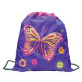 Сумка для обуви ПИФАГОР для учениц начальной школы, фиолетовая/<wbr/>розовая, бабочка, 33×42 см