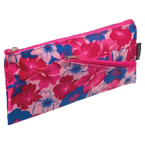 "Пенал-косметичка BRAUBERG, полиэстер, розовый, ""Цветочки"", 22х11 см"